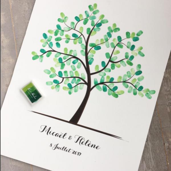 arbre à empreintes mariage, cadeau mariage personnalisé