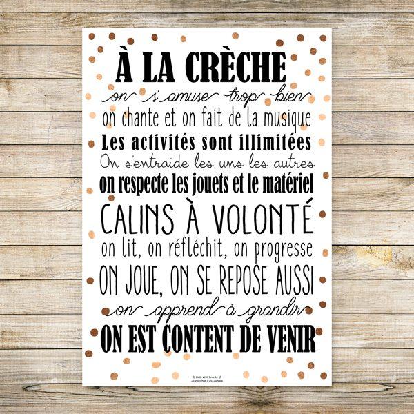 Affiche Les Règles de la Crèche, cadeau crèche