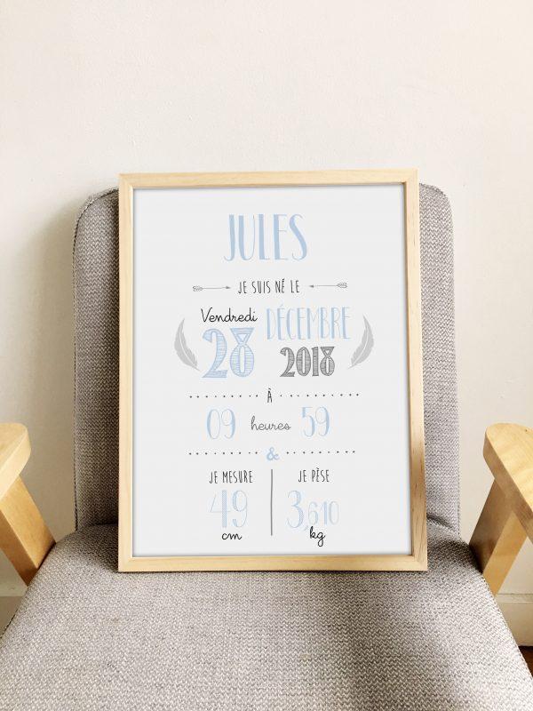 affiche de naissance personnalisée, décoration chambre bébé, affiche bébé, chambre bébé, affiche personnalisée