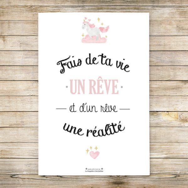 affiche enfant, chambre bébé, fille, citation, rose, affiche décoration chambre enfant
