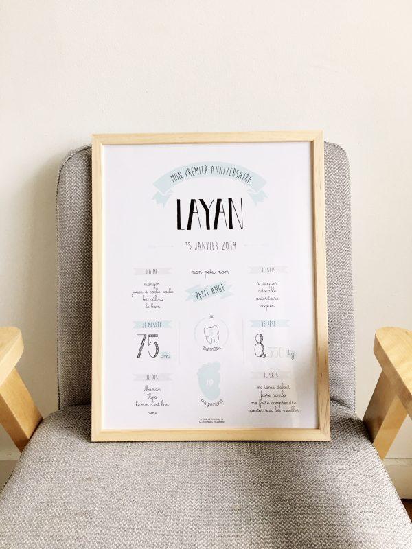 affiche premier anniversaire, personnalisé, cadeau enfant, naissance, faire-part, baptême