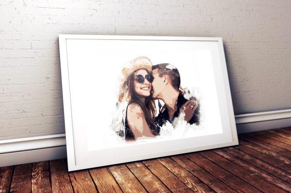affiche photo personnalisée, artistique, effet modern art, cadeau saint valentin, original, personnalisé